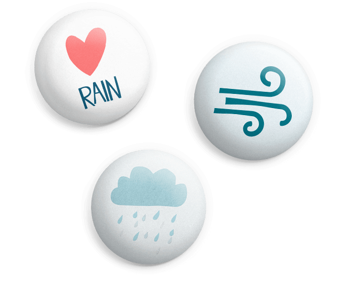 Assorted weather pin badges